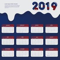 2019 utskrivbar kalender Vector