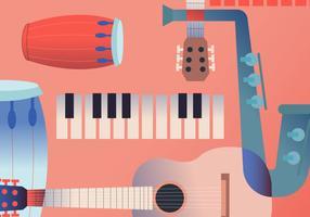 Weinlese-Musikinstrument-Plakat-Vektor Illustration vektor