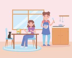 tägliche Routineszene, Frau und Tochter, die gesundes Frühstück essen vektor