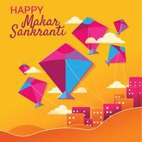 Craft Paper Style von Happy Makar Sankranti mit buntem Drachen vektor