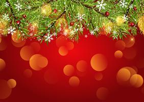 Jul bakgrund med snöflingor och bokeh ljus vektor