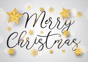 Dekorativ jultext bakgrund med guldstjärnor vektor