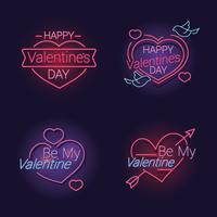Ställ av lyckliga Alla hjärtans dag text med hjärta vektor