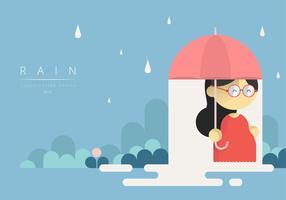 Girl Holding Paraply med skandinavisk grafisk stil