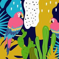Tropischer Dschungel verlässt Hintergrund mit Papageien vektor