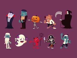 Reihe von lustigen Charakteren für Halloween vektor