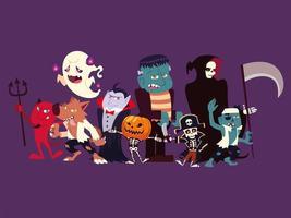 Gruppe lustiger Charaktere für Halloween vektor