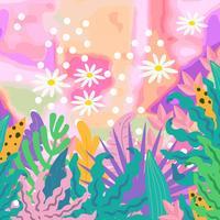 Tropischer Dschungel verlässt Hintergrund. Tropische Blumen Poster Design vektor