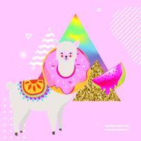 Bunte Hintergrundvektorillustration des Lamas oder des Alpakas