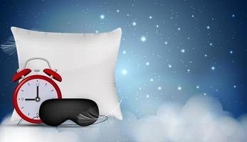 Gute Nacht abstrakter Hintergrund mit lustiger Schlafmaske, Wecker und Kissen. Vektor-Illustration vektor
