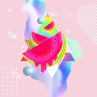 Flüssiger mehrfarbiger Hintergrund mit Wassermelonenvektorillustration