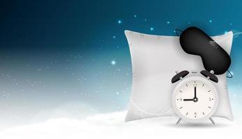 abstrakter Hintergrund der guten Nacht mit lustiger Schlafmaske, Wecker und Kissen gegen blauen Himmel, Sterne und realistische 3D-Wolken. Vektorillustration eps10 vektor