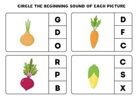 Arbeitsblatt für Kinder. den Anfangsklang finden. Cartoon-Gemüse. vektor