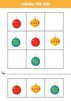 Sudoku-Spiel für Kinder mit Cartoon-Weihnachtskugeln. vektor