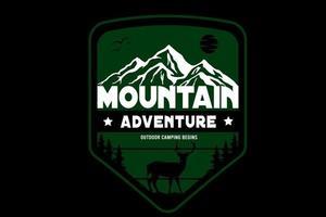 Bergabenteuer Outdoor-Camping beginnt in der Farbe Grün und Weiß vektor