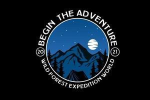 Beginnen Sie das Abenteuer wilde Waldexpedition Weltfarbe blau und weiß vektor