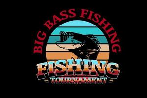 Big Bass Fishing Angelturnier Farbe Grün Creme und Rot vektor