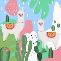 Lama oder Alpaka mit bunter Hintergrundvektorillustration des Kaktus vektor