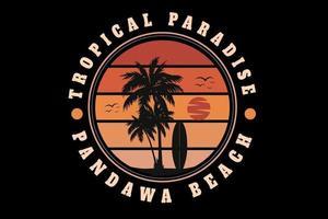 tropisches paradies bali strand farbe orange verlauf vektor