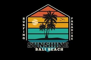 Surfparadies Sonnenschein Bali Strand Farbe Grün Orange und Gelb vektor