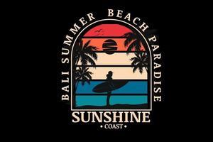 Bali Sommer Strandparadies Sonnenschein Küste Farbe Orange Creme und Blau vektor