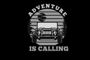 Abenteuer ruft Silhouettendesign mit Jeep vektor