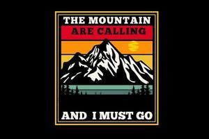 Der Berg ruft Silhouettendesign vektor