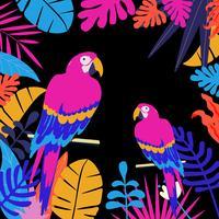 Tropisk djungel lämnar bakgrund med papegojor