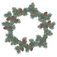 handgezeichneter Weihnachtskranz aus Tannenzweigen Vektor. vektor