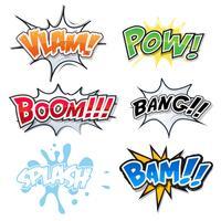 Comic Text, Bomb Explosions Och Pop Art Style