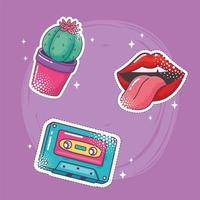 Pop-Art-Element-Aufkleber-Icon-Set, Kaktus, Lippen, Kassette, vektor