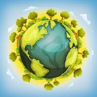 Erde-Planet mit Wald und Landwirtschaftselementen herum vektor