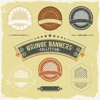 vintagegrunge banner och etikettsamling vektor