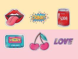 Pop-Art-Element-Aufkleber-Icon-Set, Lippen, Soda, Kassette, Kirsche und Liebe vektor