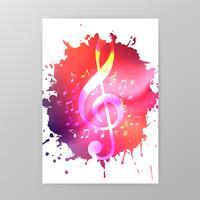 Musikaffischdesign med g-klaviatur och musikanteckningar