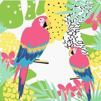 Tropisk djungel lämnar bakgrund med papegojor. Sommar vektor illustration design