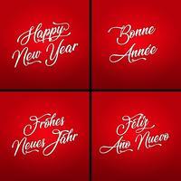 Frohes neues Jahr in mehreren Sprachen vektor