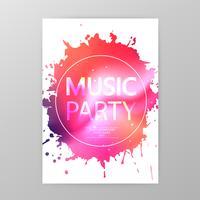 Music party affisch, färg splatter party flyersmall vektor illustration