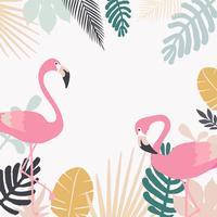 Tropischer Dschungel verlässt Hintergrund mit Flamingos vektor