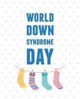 Welt-Down-Syndrom-Tag hängende Socken Kinder an Seildekoration vektor