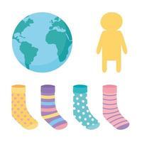Welt-Down-Syndrom-Tag, Weltsocken und Kindersymbole vektor