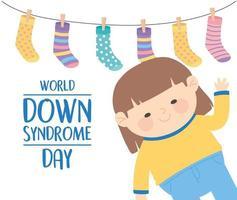 Welt-Down-Syndrom-Tag winkende Hand kleines Mädchen Cartoon und Socken Dekoration vektor