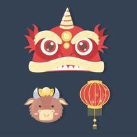 Frohes neues Jahr Chinesisch, Set Icons Laterne Ochse und Drache vektor