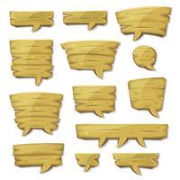 Cartoon Holz Sprechblasen für Ui-Spiel vektor