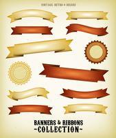 Vintage Banderoller Och Ribbons Set vektor