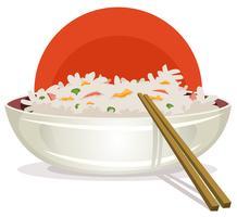 Stekt ris med asiatiska ätpinnar vektor