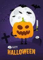 glückliches halloween-poster mit kürbis-gruseligem gesichtsausdruck grimasse vektor