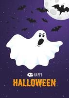 Happy halloween text postkartenbanner mit gruseligem gesicht des geistes vektor