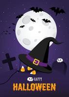 Happy Halloween Poster mit großem Hexenhut und Süßigkeiten auf dem Grab vektor