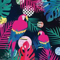 Tropiska djungelbladen med papegojor bakgrund vektor